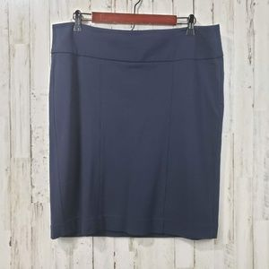 CAbi Womens Skirt Blue Wide Band Stretch Straight